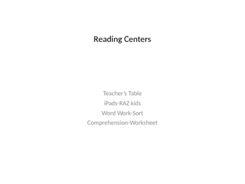 Reading Center Organization