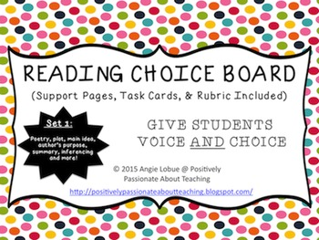 Reading Choice Board: Set 1 (Support Activities & Task Car