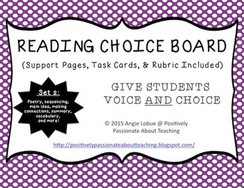 Reading Choice Board: Set 2 (Support Activities & Task Car