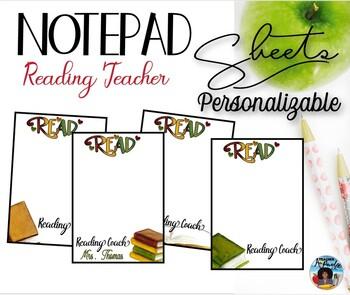 """Reading Coach"" Notepad Sheets Set {Editable}"