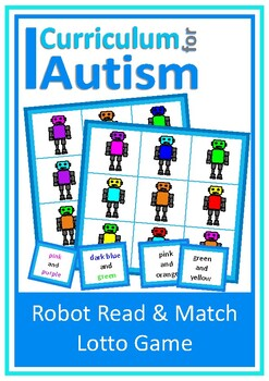Autism Read & Match Color Lotto Game,Robot Theme, Special