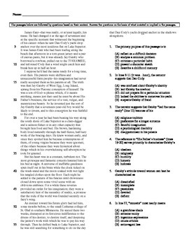Reading Comp and Sentence Completion Multiple Choice for T