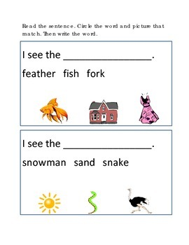 Reading Comprehension #6 Picture Clues Emergent Reader Cri