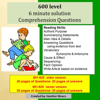 Reading Comprehension 600 level 6 minute solution questions