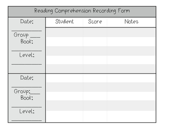 Reading Comprehension Assesssment Recording Forms