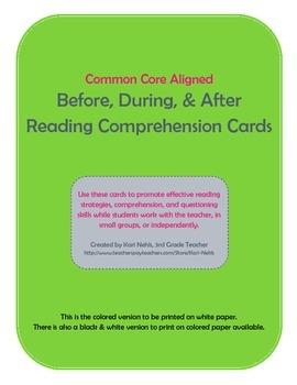 Reading Comprehension Cards (Color)