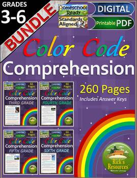 Reading Comprehension Color-Coding Text Evidence BUNDLE -