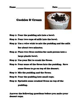 Reading Comprehension - Cookies & Cream Recipe