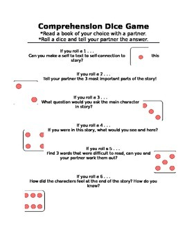 Reading Comprehension Dice Game
