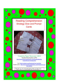 Reading Comprehension Dice and Prompt Cards