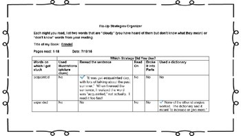 Reading Comprehension:  Fix-Up Strategies
