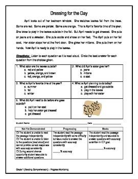 2 Reading Comprehension - Grade 1 (Progress Monitoring)