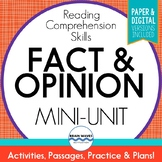 Fact and Opinion Passages, Sorts, & Graphic Organizers for