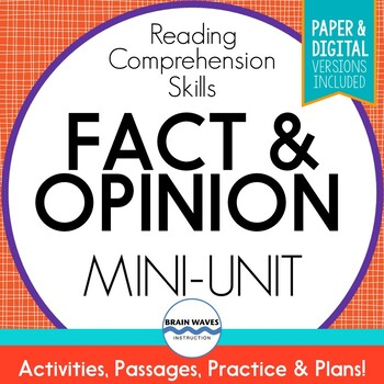 Fact and Opinion 3-Day Unit:  Engaging Reading Comprehensi