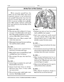 Reading Comprehension Nonfiction: At the Turn of the Century