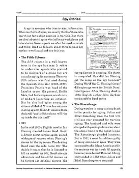 Reading Comprehension Nonfiction: Spy Stories