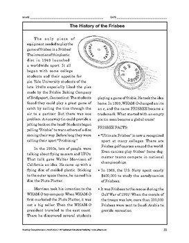Reading Comprehension Nonfiction: The History of the Frisbee