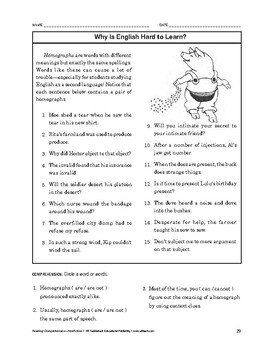 Reading Comprehension Nonfiction: Why Is English Hard to Learn?