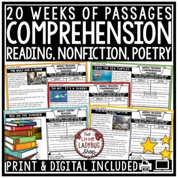 Reading Comprehension Passages 4th Grade, 3rd Grade & 5th Grade
