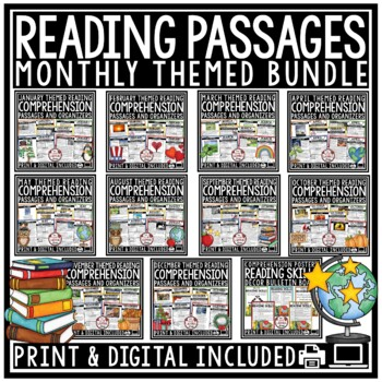 Reading Comprehension Passages 4th Grade, 3rd Grade & 5th