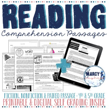 Reading Comprehension Passages 4th grade,5th grade & 6th g