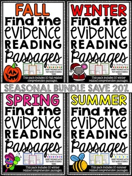 Reading Comprehension Passages - Find the Evidence - Seaso
