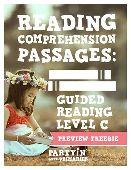 Reading Comprehension Passages: Guided Reading Level C Freebie