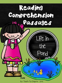 Reading Comprehension Passages:  Life in the Pond (Kinderg