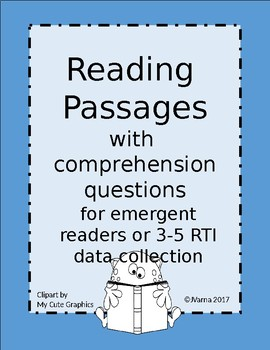 Reading Comprehension Passages for RTI data collection