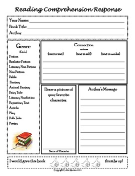 Reading Comprehension Response Form w/ personal connection piece