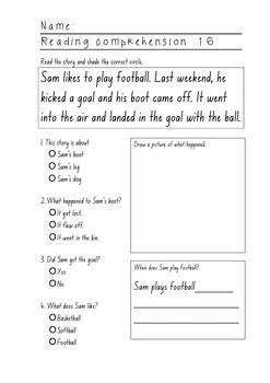 Reading Comprehension Sheets for Yr1 or weak Yr2/Yr3 Set 2