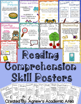 Reading Comprehension Skills Posters: COLOR AND BLACK AND