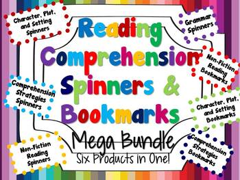 Reading Comprehension Spinners and Bookmarks Mega Bundle