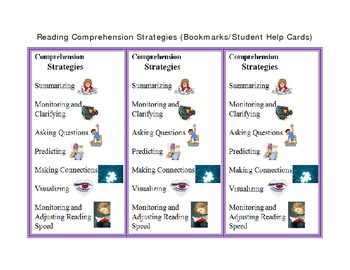 Reading Comprehension Strategies Bookmarks/Student Guide Cards