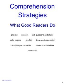 Reading Comprehension Strategies - Guided Notes Organizer