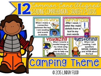 Reading Comprehension Strategies Posters  - Camping Theme