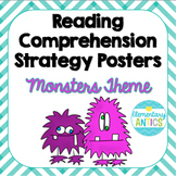 Reading Comprehension Strategy Posters- Monsters & Chevron Theme