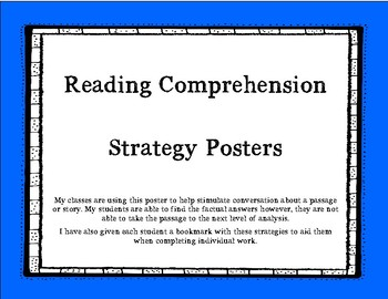 Reading Comprehension Strategy Posters and Bookmarks