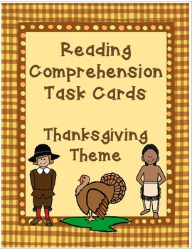 Reading Comprehension Task Cards for Thanksgiving