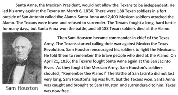 Reading Comprehension: The History of Texas 1821-1836 w/ 2