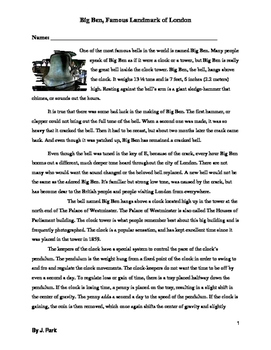 Reading Comprehension & Vocabulary Lesson on Big Ben in En