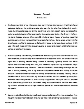 Reading Comprehension for Short Story (fiction based on fa