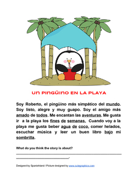 Reading Comprehension in Spanish (A Penguin at the Beach)