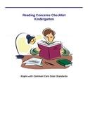 Reading Concern Checklist - Kindergarten