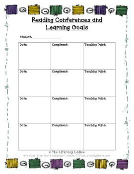 Reading Conference Goal Tracking Page
