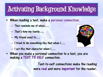 Reading Connections Powerpoint - Text to World / Self / Text