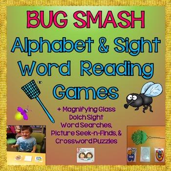 Alphabet & Level 1 & 2 Sight Word Bug Smash Games +Magnify
