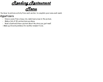 Reading, ELA, and Math Center Menu