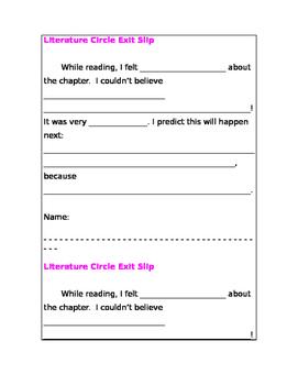 Reading Exit Slip
