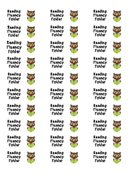 Reading Fluency Folder Label--Owl Theme